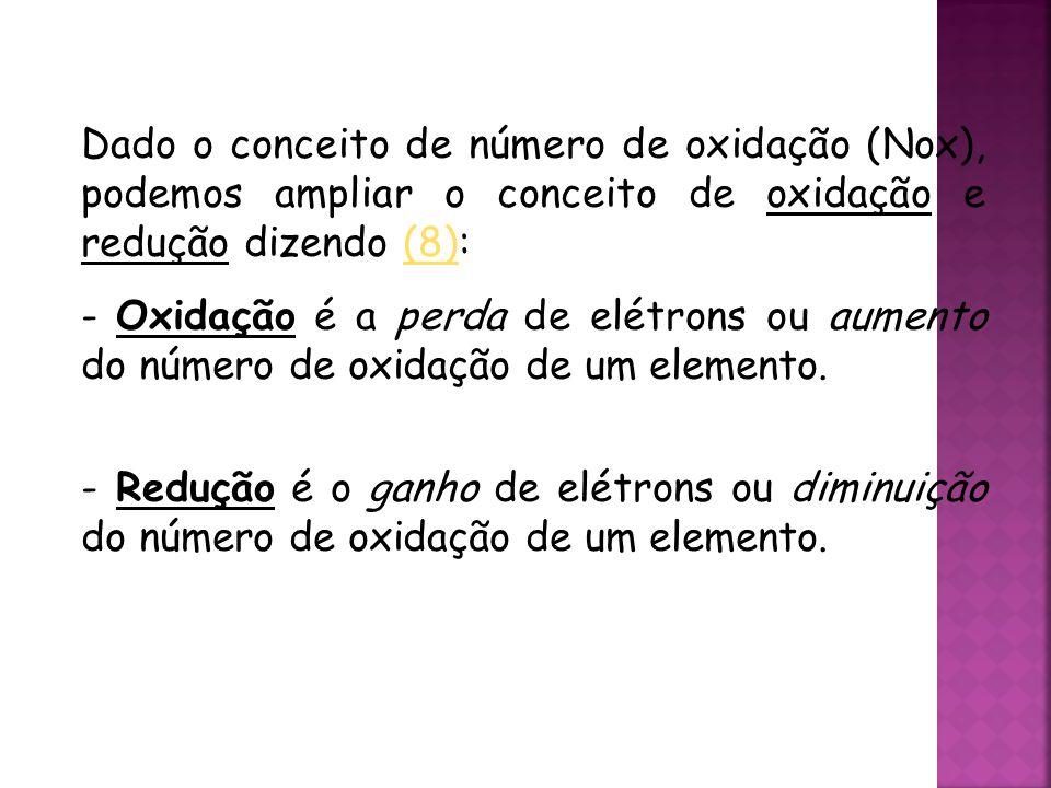 QUÍMICA, 3ª ANO Oxirredução (Regras do Nox) Dado o conceito de número de oxidação (Nox), podemos ampliar o conceito de oxidação e redução dizendo (8):(8) - Oxidação é a perda de elétrons ou aumento do número de oxidação de um elemento.