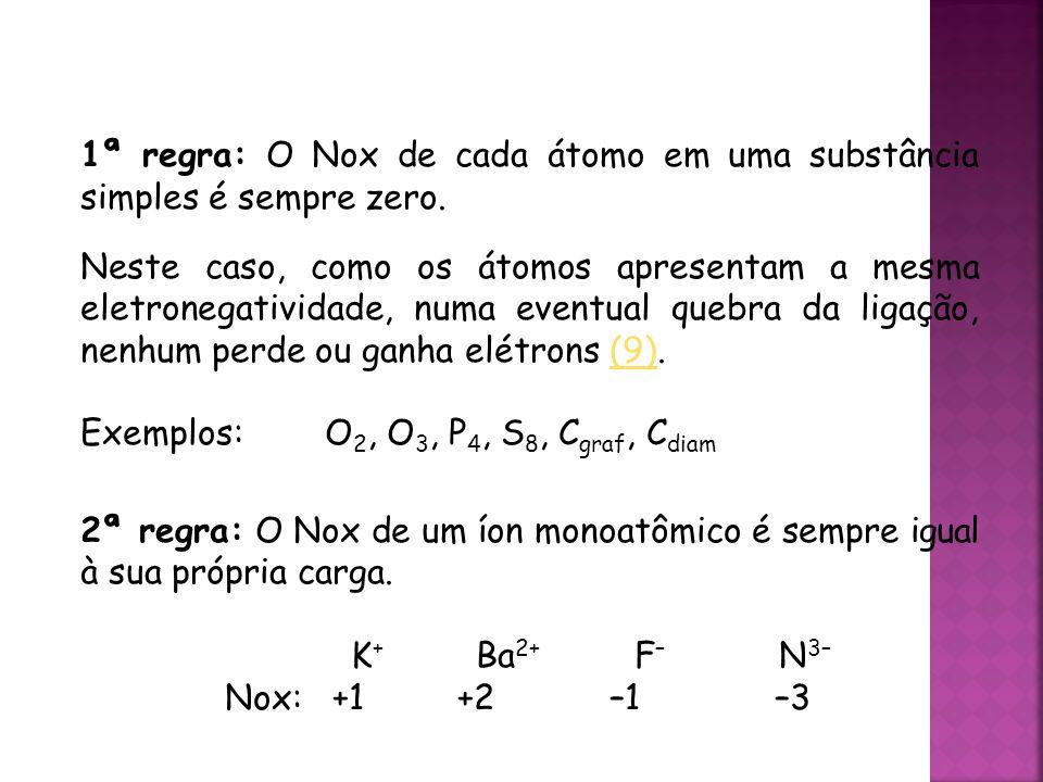 QUÍMICA, 3ª ANO Oxirredução (Regras do Nox) 1ª regra: O Nox de cada átomo em uma substância simples é sempre zero.