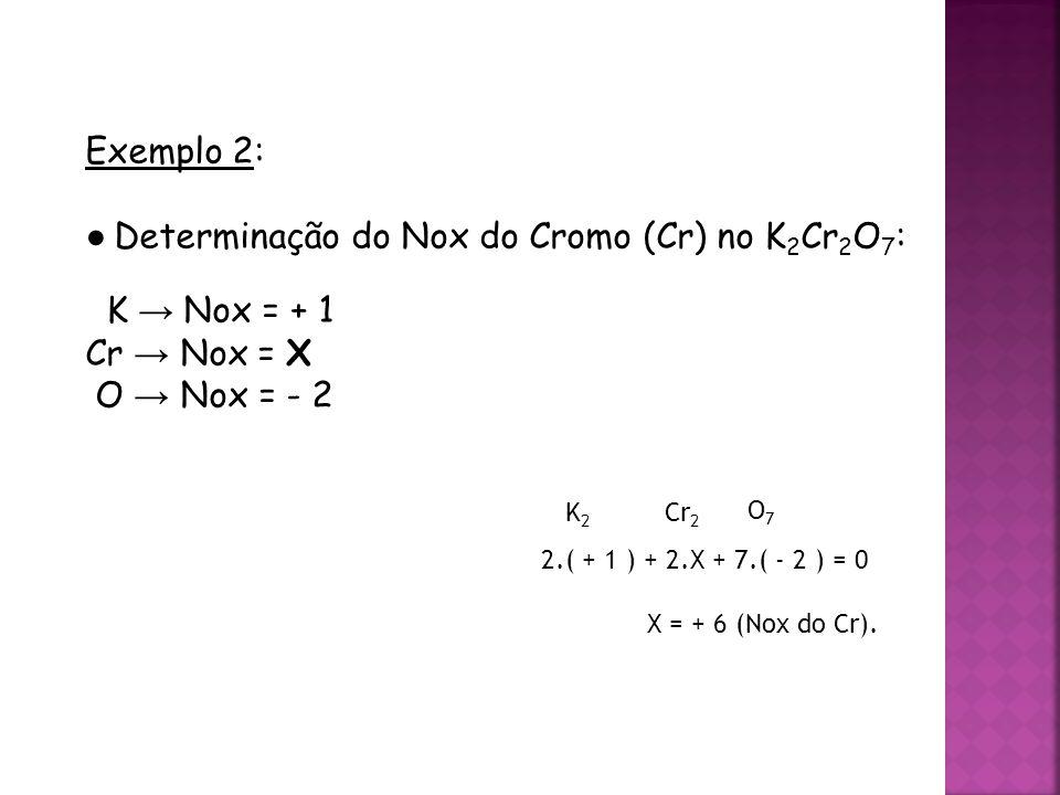 QUÍMICA, 3ª ANO Oxirredução (Regras do Nox) Exemplo 2: ● Determinação do Nox do Cromo (Cr) no K 2 Cr 2 O 7 : K → Nox = + 1 Cr → Nox = X O → Nox = - 2 K2K2 Cr 2 O7O7 2.( + 1 ) + 2.X + 7.( - 2 ) = 0 X = + 6 (Nox do Cr).