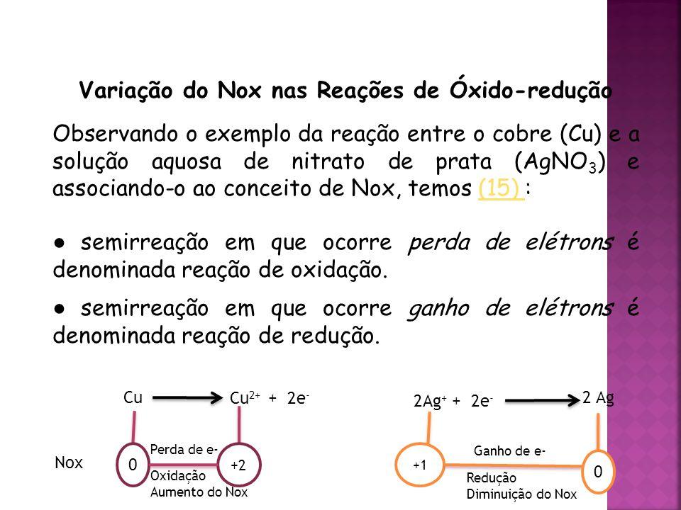 QUÍMICA, 3ª ANO Oxirredução (Regras do Nox) Variação do Nox nas Reações de Óxido-redução Observando o exemplo da reação entre o cobre (Cu) e a solução aquosa de nitrato de prata (AgNO 3 ) e associando-o ao conceito de Nox, temos (15) :(15) ● semirreação em que ocorre perda de elétrons é denominada reação de oxidação.