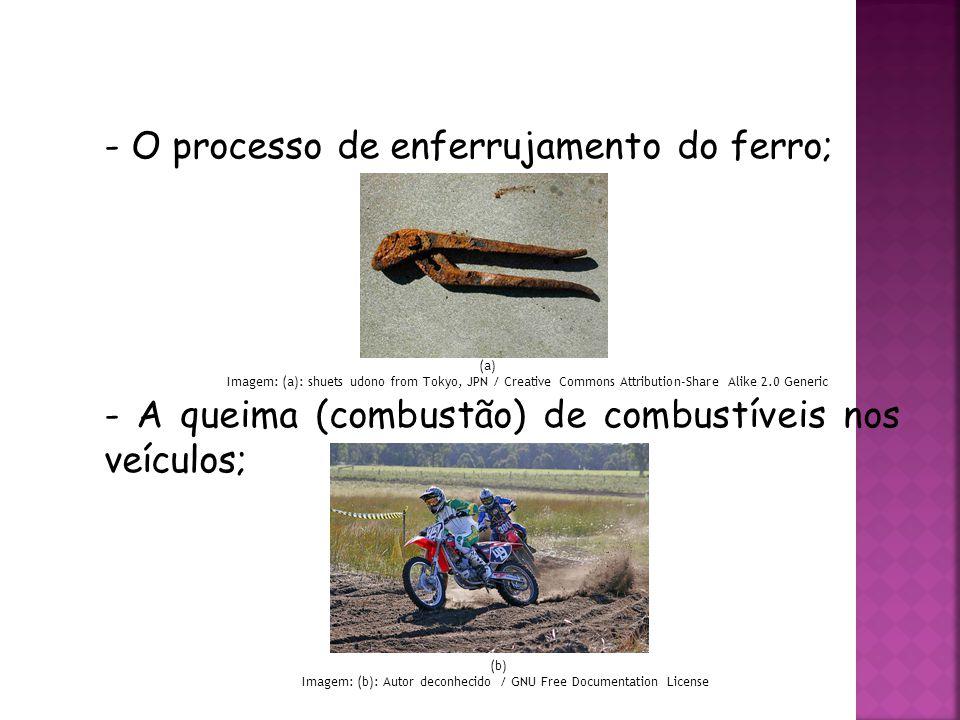 QUÍMICA, 3ª ANO Oxirredução (Regras do Nox) - O processo de enferrujamento do ferro; - A queima (combustão) de combustíveis nos veículos; (a) Imagem: (a): shuets udono from Tokyo, JPN / Creative Commons Attribution-Share Alike 2.0 Generic (b) Imagem: (b): Autor deconhecido / GNU Free Documentation License