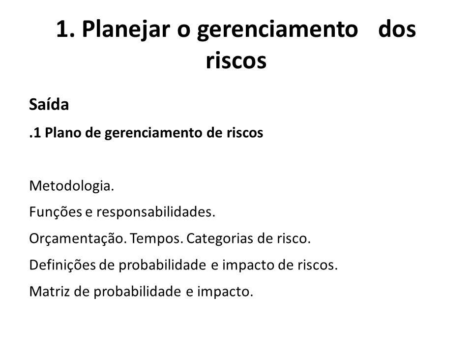 1. Planejar o gerenciamento dos riscos Saída.1 Plano de gerenciamento de riscos Metodologia. Funções e responsabilidades. Orçamentação. Tempos. Catego