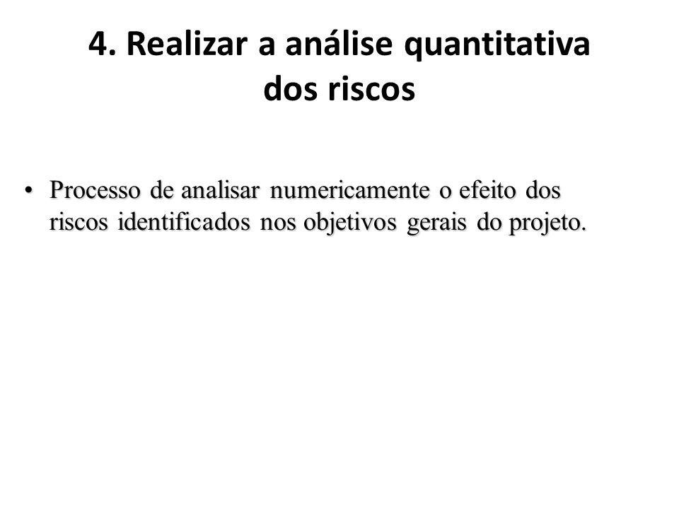4. Realizar a análise quantitativa dos riscos Processo de analisar numericamente o efeito dos riscos identificados nos objetivos gerais do projeto.Pro