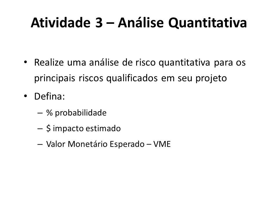 Atividade 3 – Análise Quantitativa Realize uma análise de risco quantitativa para os principais riscos qualificados em seu projeto Defina: – % probabi