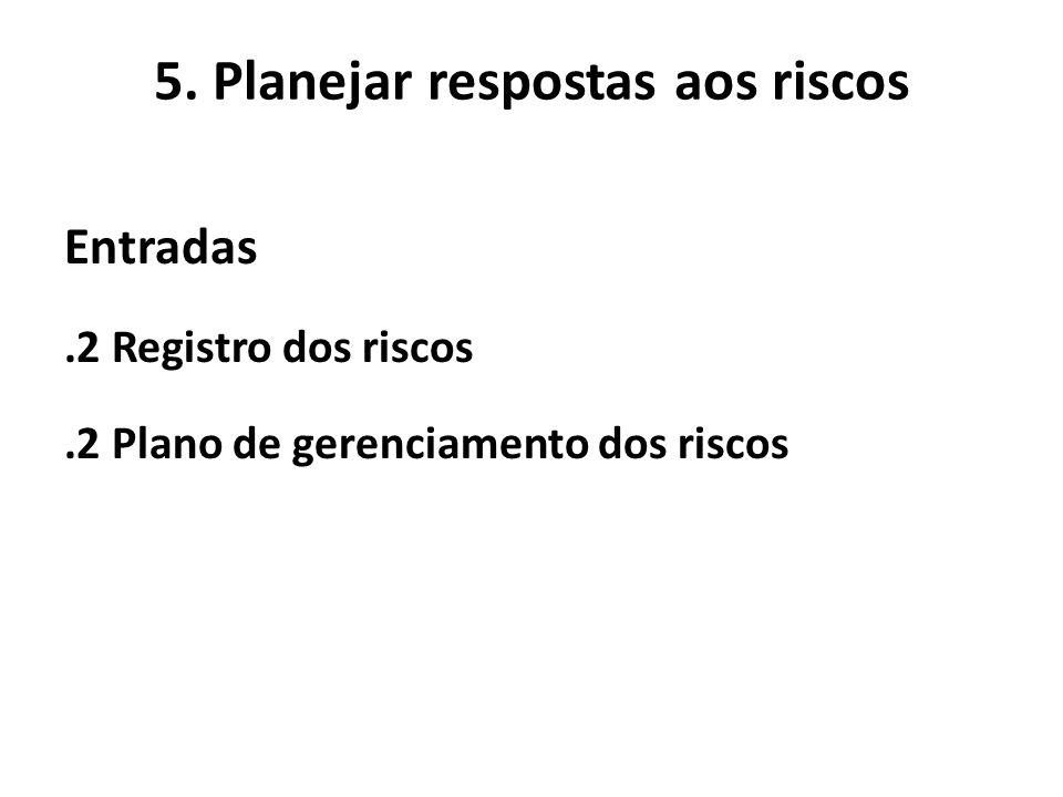 5. Planejar respostas aos riscos Entradas.2 Registro dos riscos.2 Plano de gerenciamento dos riscos