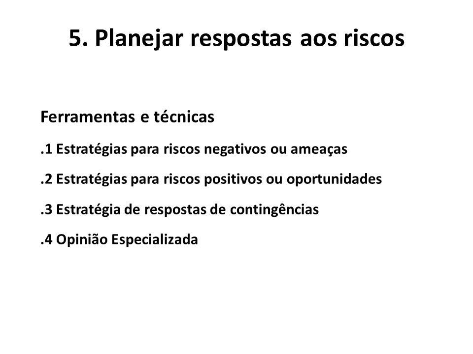 5. Planejar respostas aos riscos Ferramentas e técnicas.1 Estratégias para riscos negativos ou ameaças.2 Estratégias para riscos positivos ou oportuni