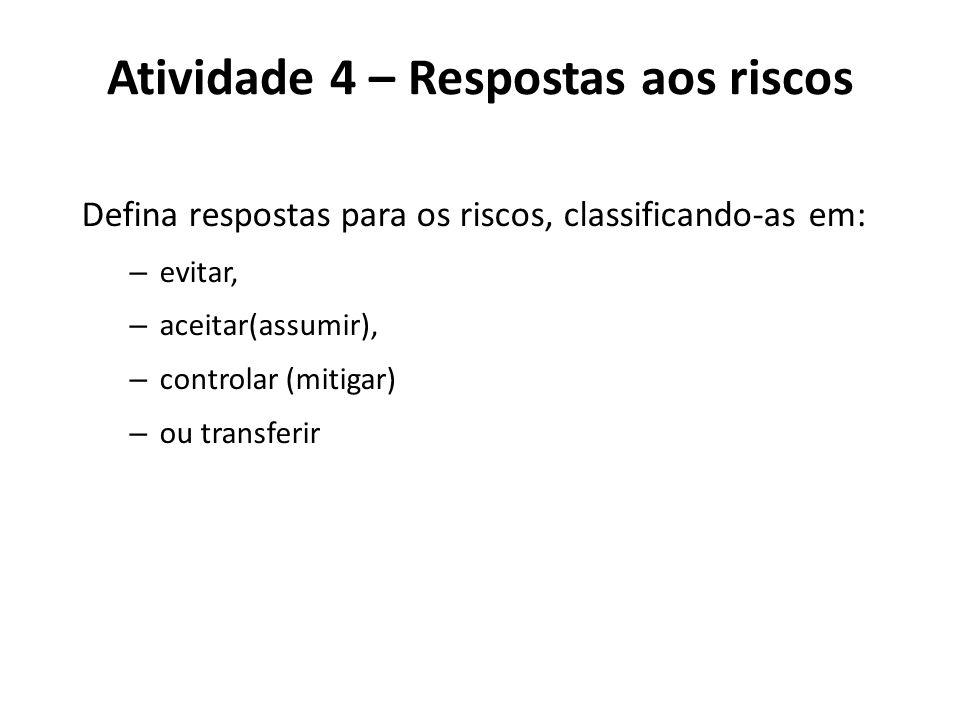 Atividade 4 – Respostas aos riscos Defina respostas para os riscos, classificando-as em: – evitar, – aceitar(assumir), – controlar (mitigar) – ou tran