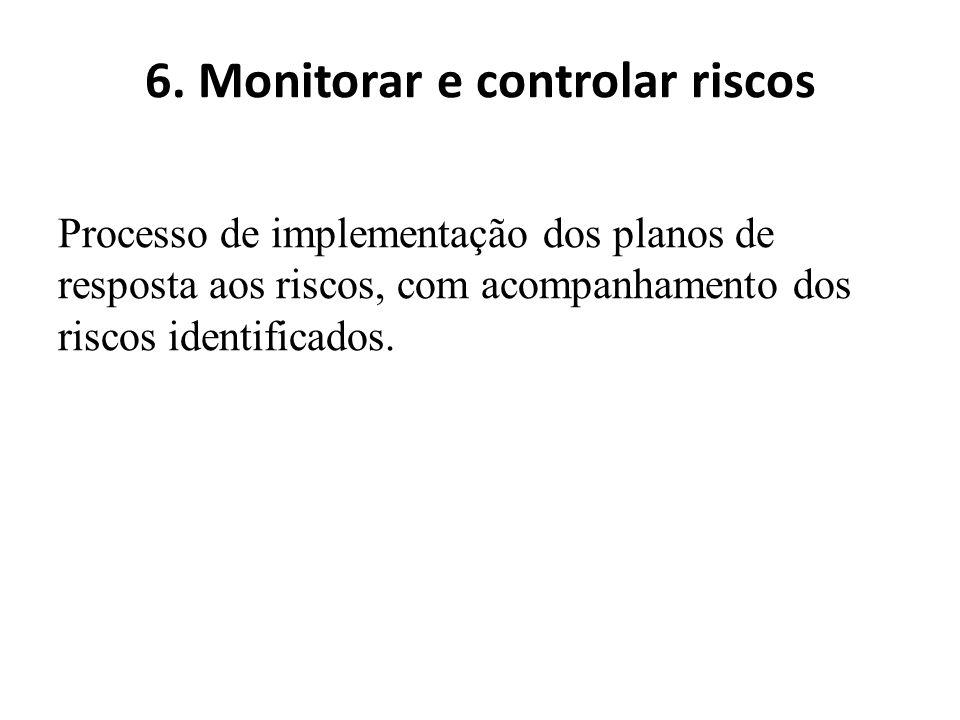 6. Monitorar e controlar riscos Processo de implementação dos planos de resposta aos riscos, com acompanhamento dos riscos identificados.