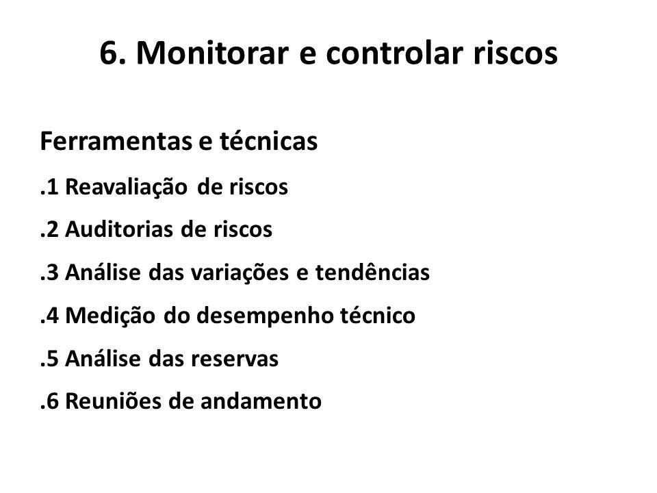 6. Monitorar e controlar riscos Ferramentas e técnicas.1 Reavaliação de riscos.2 Auditorias de riscos.3 Análise das variações e tendências.4 Medição d