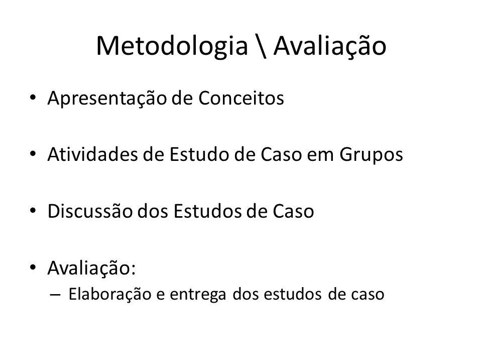 Metodologia \ Avaliação Apresentação de Conceitos Atividades de Estudo de Caso em Grupos Discussão dos Estudos de Caso Avaliação: – Elaboração e entre