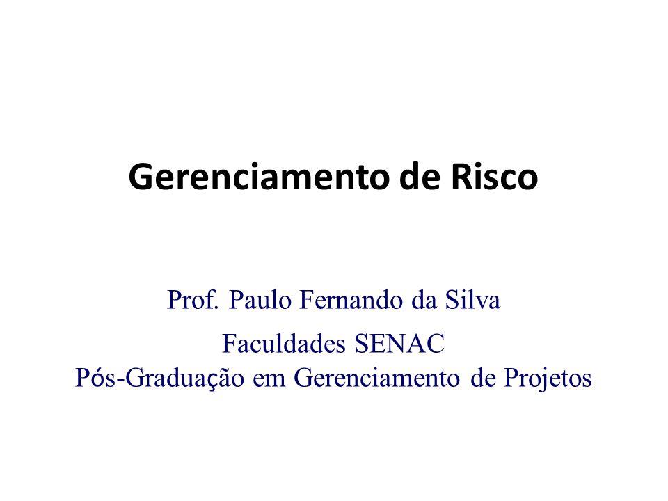 Gerenciamento de Risco Prof. Paulo Fernando da Silva Faculdades SENAC P ó s-Gradua ç ão em Gerenciamento de Projetos