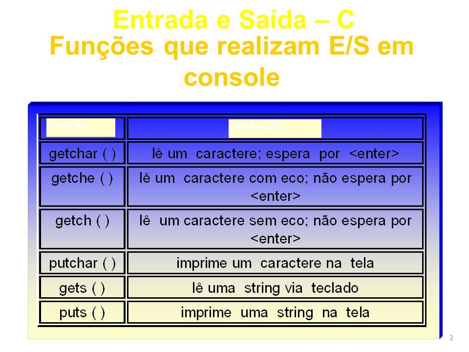 2 Entrada e Saída – C Funções que realizam E/S em console FUNÇÃO OPERAÇÃO