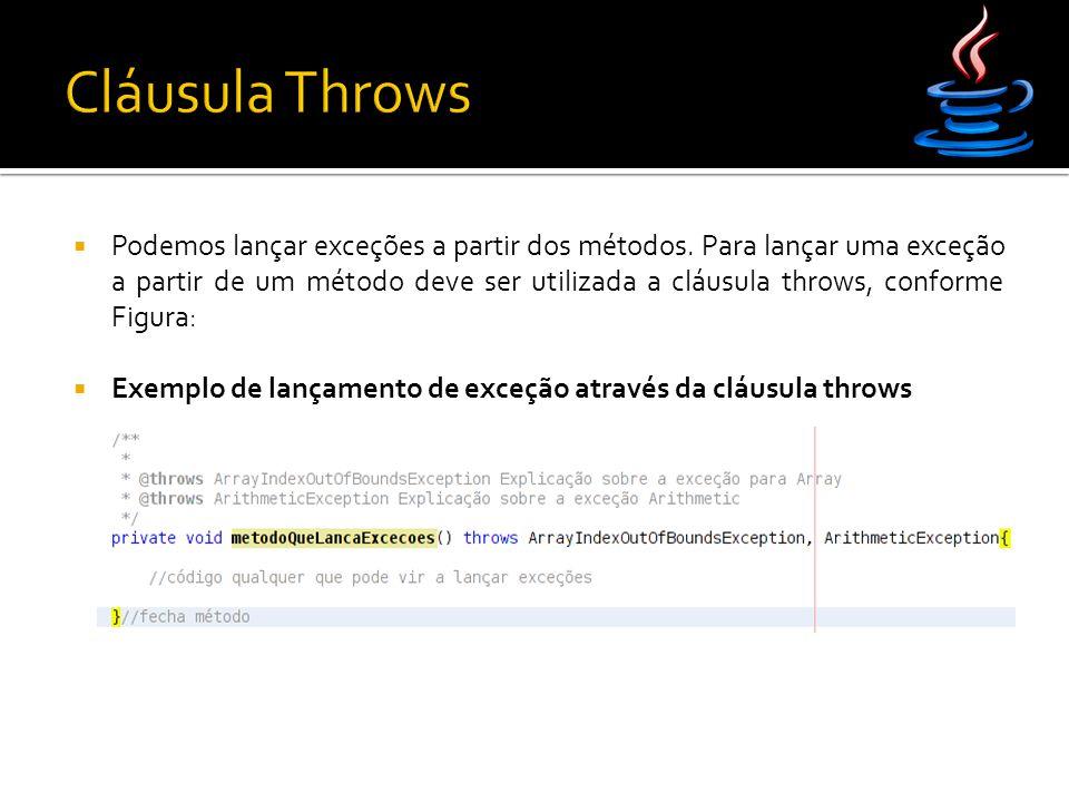  Exemplo de lançamento de exceção através da cláusula throws