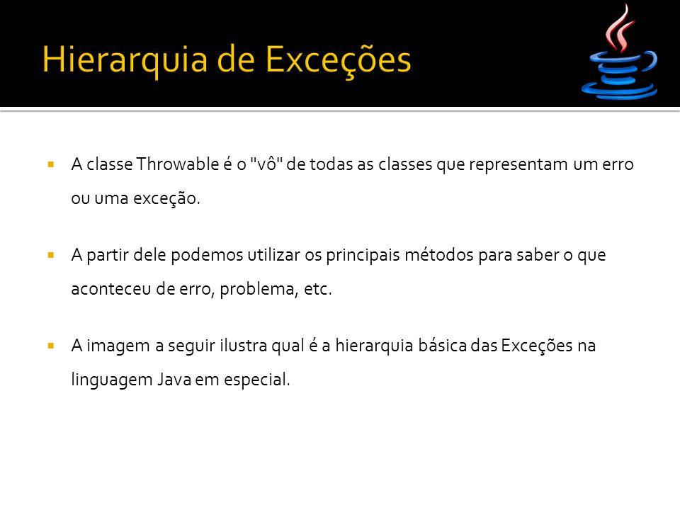  A classe Throwable é o vô de todas as classes que representam um erro ou uma exceção.