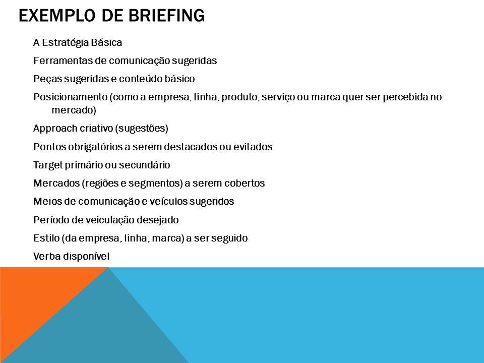EXEMPLO DE BRIEFING A Estratégia Básica Ferramentas de comunicação sugeridas Peças sugeridas e conteúdo básico Posicionamento (como a empresa, linha,