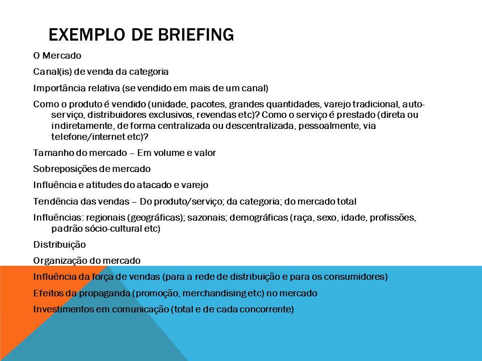 EXEMPLO DE BRIEFING O Mercado Canal(is) de venda da categoria Importância relativa (se vendido em mais de um canal) Como o produto é vendido (unidade,