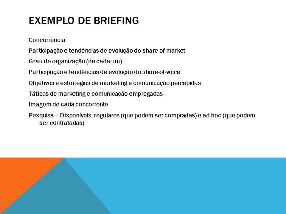 EXEMPLO DE BRIEFING Concorrência: Participação e tendências de evolução do share-of-market Grau de organização (de cada um) Participação e tendências