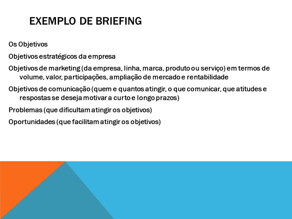 EXEMPLO DE BRIEFING Os Objetivos Objetivos estratégicos da empresa Objetivos de marketing (da empresa, linha, marca, produto ou serviço) em termos de