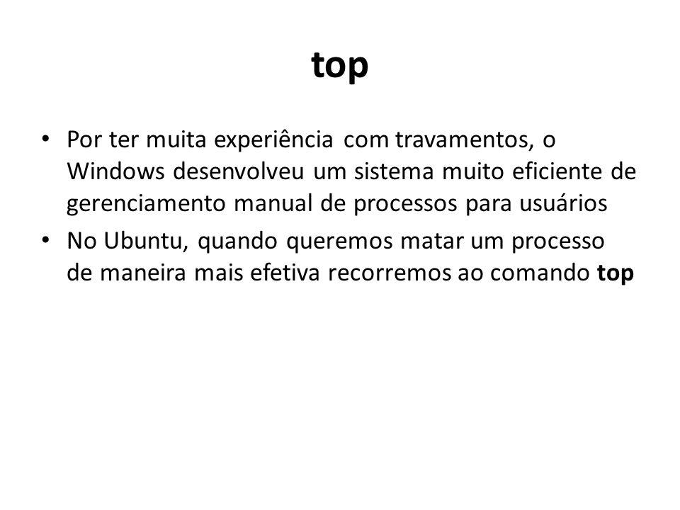 top Por ter muita experiência com travamentos, o Windows desenvolveu um sistema muito eficiente de gerenciamento manual de processos para usuários No Ubuntu, quando queremos matar um processo de maneira mais efetiva recorremos ao comando top