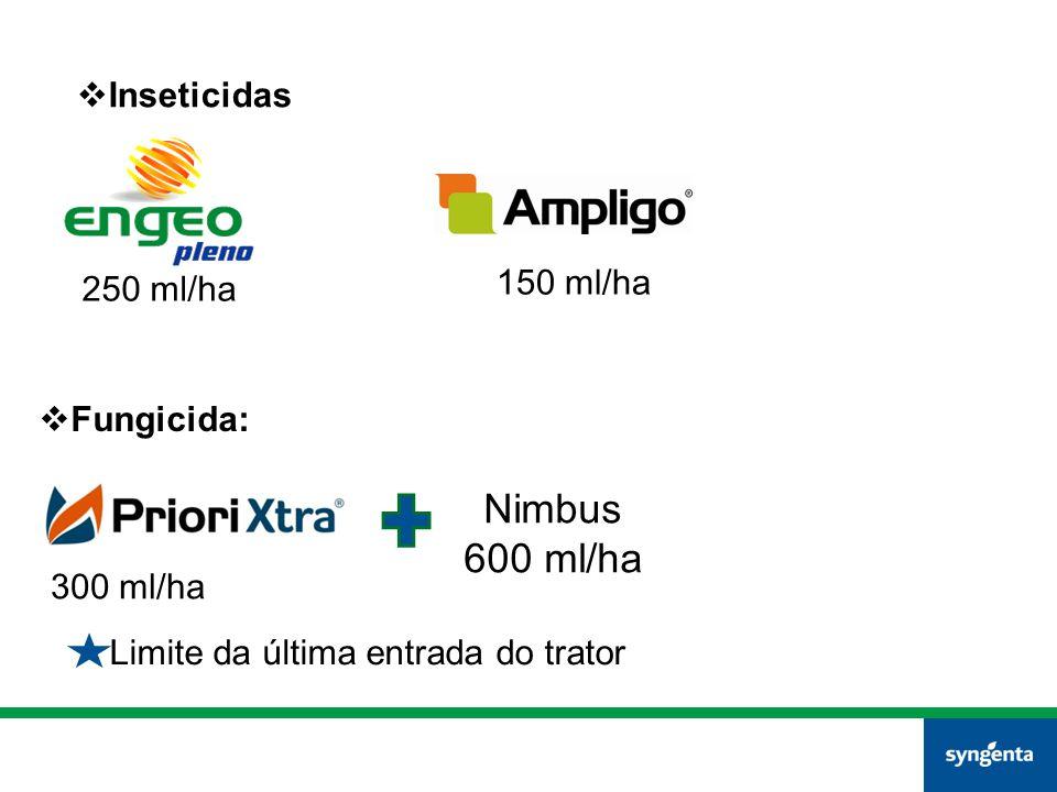  Inseticidas 250 ml/ha 150 ml/ha  Fungicida: 300 ml/ha Nimbus 600 ml/ha Limite da última entrada do trator