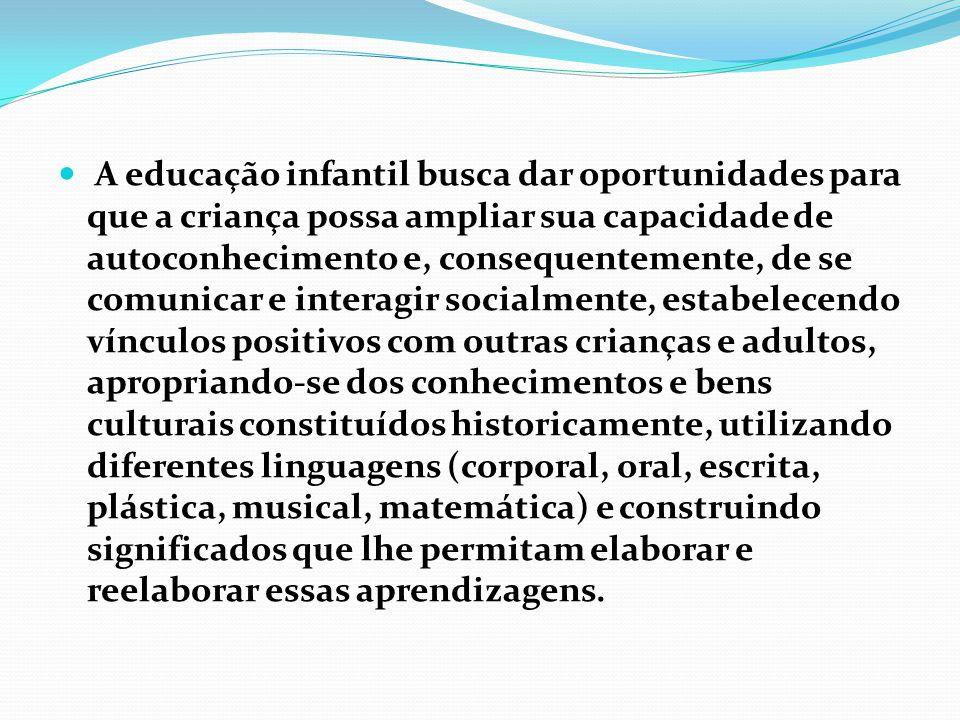 A educação infantil busca dar oportunidades para que a criança possa ampliar sua capacidade de autoconhecimento e, consequentemente, de se comunicar e