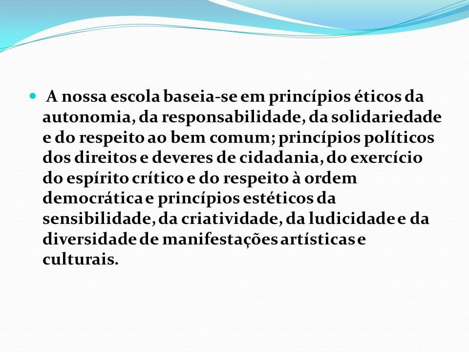 A nossa escola baseia-se em princípios éticos da autonomia, da responsabilidade, da solidariedade e do respeito ao bem comum; princípios políticos dos