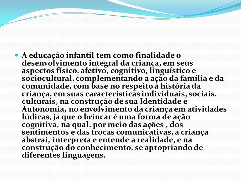 A educação infantil tem como finalidade o desenvolvimento integral da criança, em seus aspectos físico, afetivo, cognitivo, linguístico e sociocultura