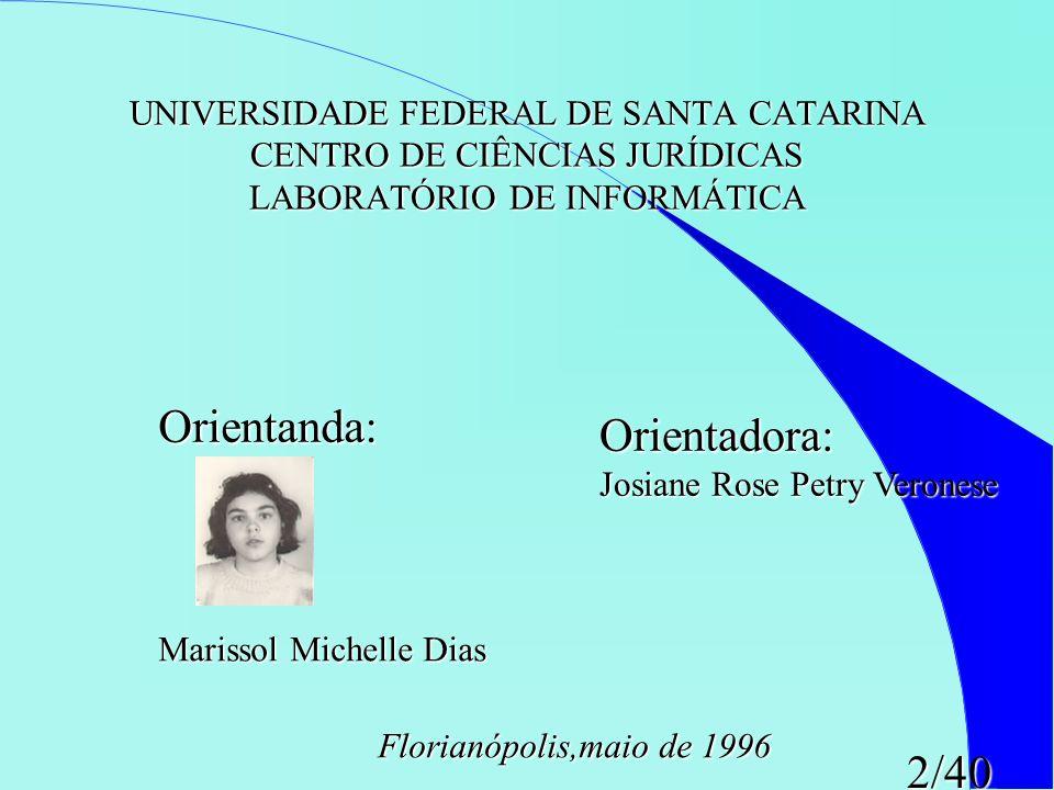 2/40 UNIVERSIDADE FEDERAL DE SANTA CATARINA CENTRO DE CIÊNCIAS JURÍDICAS LABORATÓRIO DE INFORMÁTICA Orientanda: Orientanda: Marissol Michelle Dias Ori
