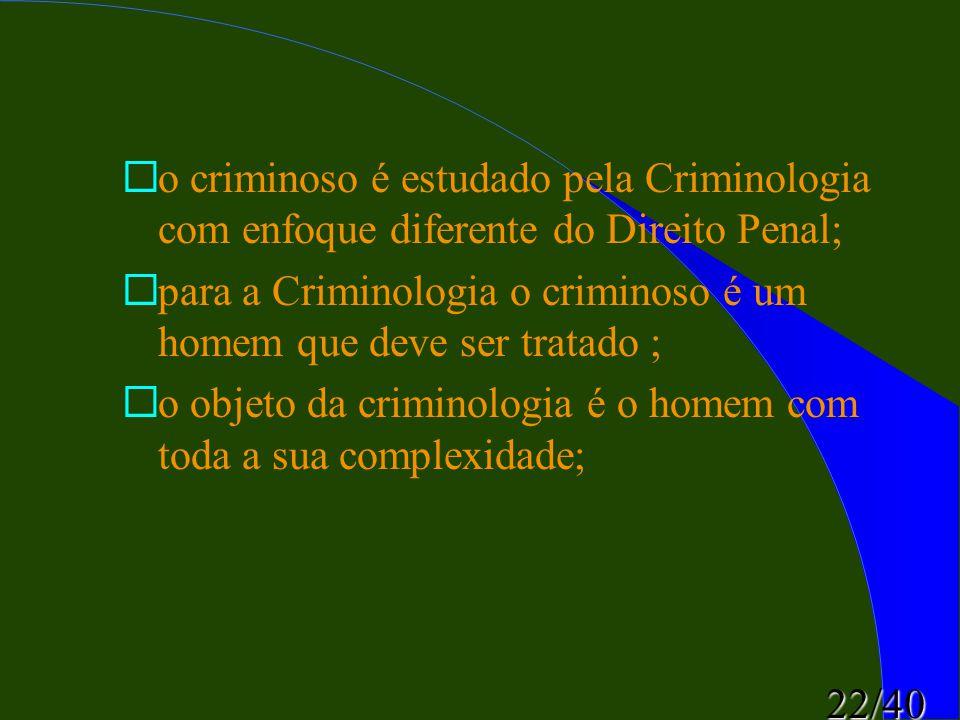 22/40 ¨o criminoso é estudado pela Criminologia com enfoque diferente do Direito Penal; ¨para a Criminologia o criminoso é um homem que deve ser trata