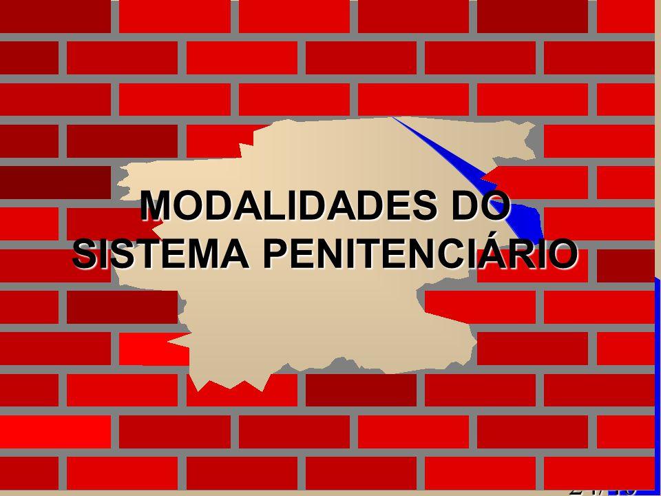 24/40 MODALIDADES DO SISTEMA PENITENCIÁRIO