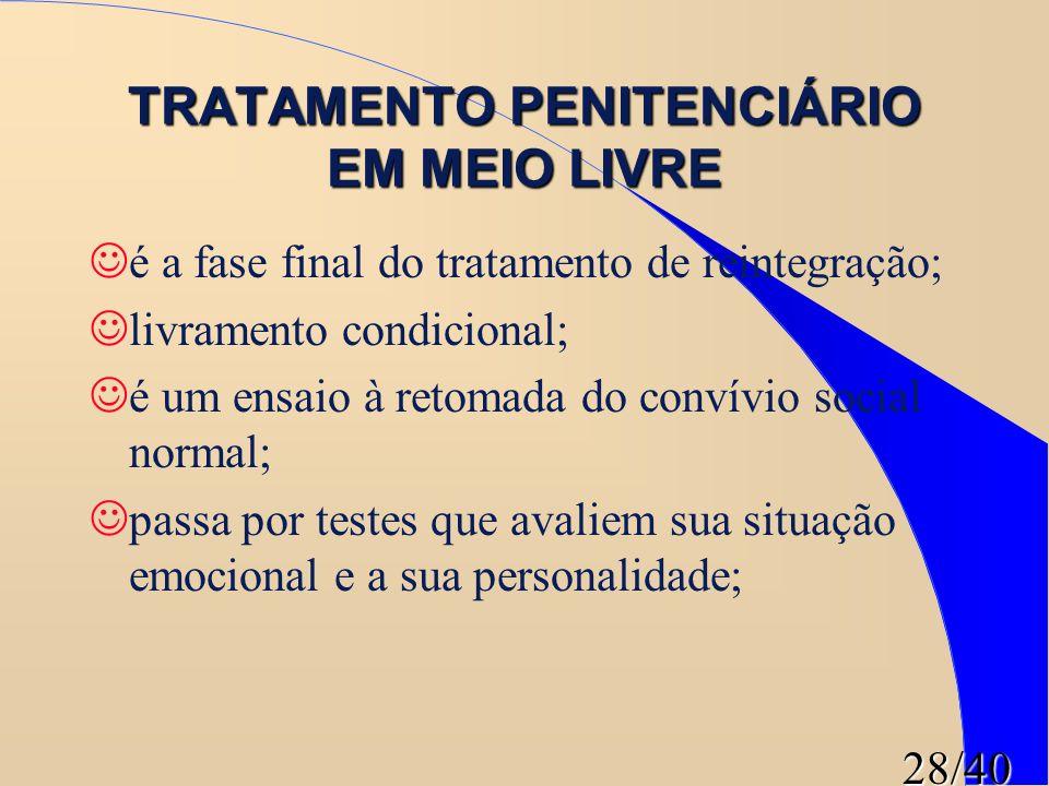 28/40 TRATAMENTO PENITENCIÁRIO EM MEIO LIVRE é a fase final do tratamento de reintegração; livramento condicional; é um ensaio à retomada do convívio
