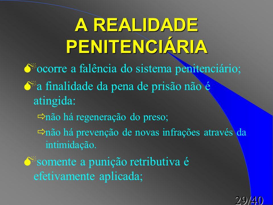29/40 A REALIDADE PENITENCIÁRIA  ocorre a falência do sistema penitenciário;  a finalidade da pena de prisão não é atingida:  não há regeneração do