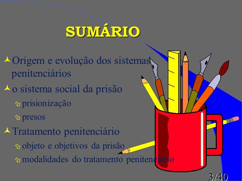 3/40 © ©Origem e evolução dos sistemas penitenciários © ©o sistema social da prisão ø ø prisionização ø ø presos © ©Tratamento penitenciário ø ø objet