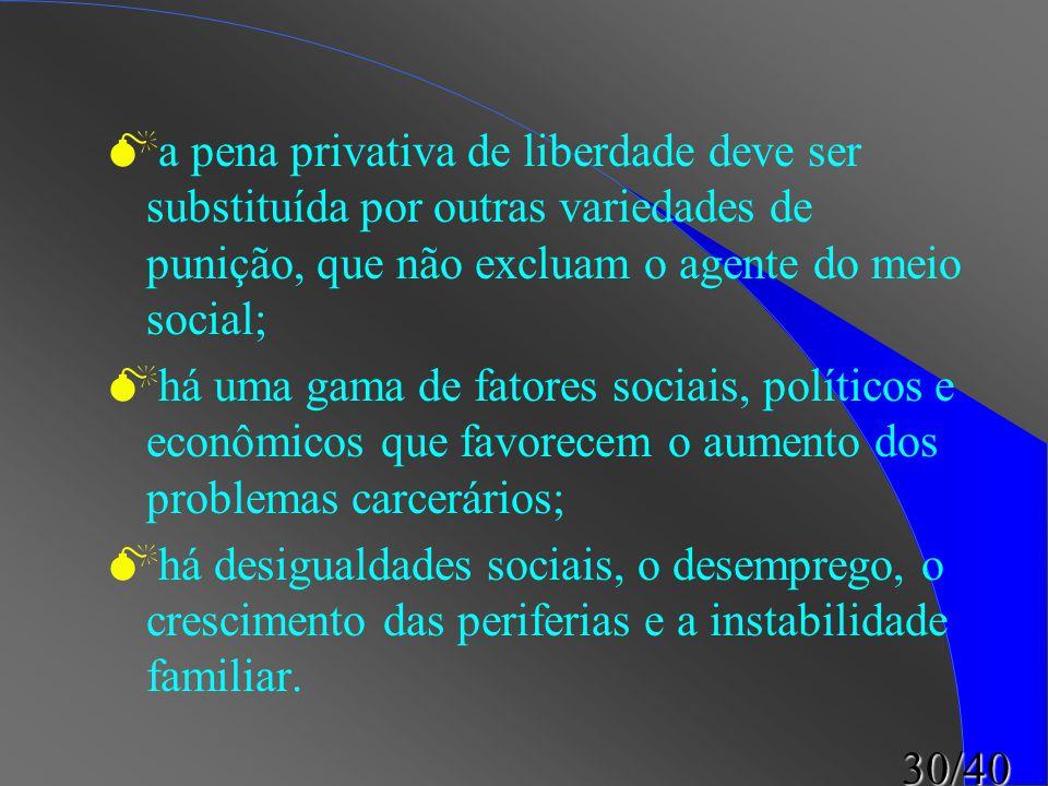 30/40  a pena privativa de liberdade deve ser substituída por outras variedades de punição, que não excluam o agente do meio social;  há uma gama de