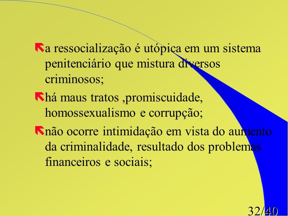 32/40 ëa ressocialização é utópica em um sistema penitenciário que mistura diversos criminosos; ëhá maus tratos,promiscuidade, homossexualismo e corru