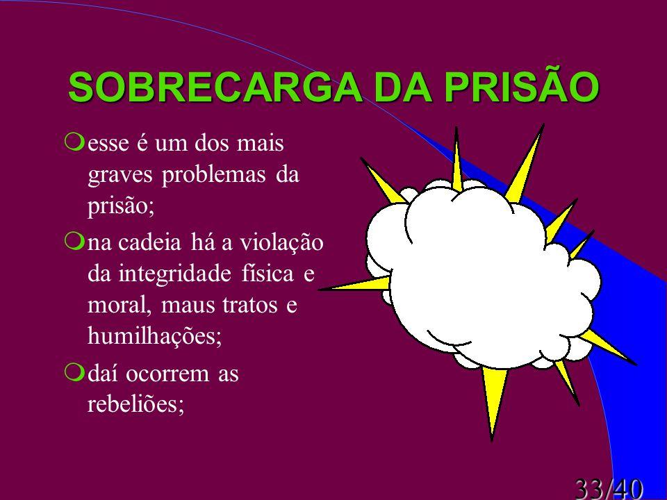 33/40 SOBRECARGA DA PRISÃO  esse é um dos mais graves problemas da prisão;  na cadeia há a violação da integridade física e moral, maus tratos e hum