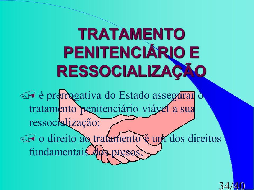 34/40 TRATAMENTO PENITENCIÁRIO E RESSOCIALIZAÇÃO / é prerrogativa do Estado assegurar o tratamento penitenciário viável a sua ressocialização; / o dir