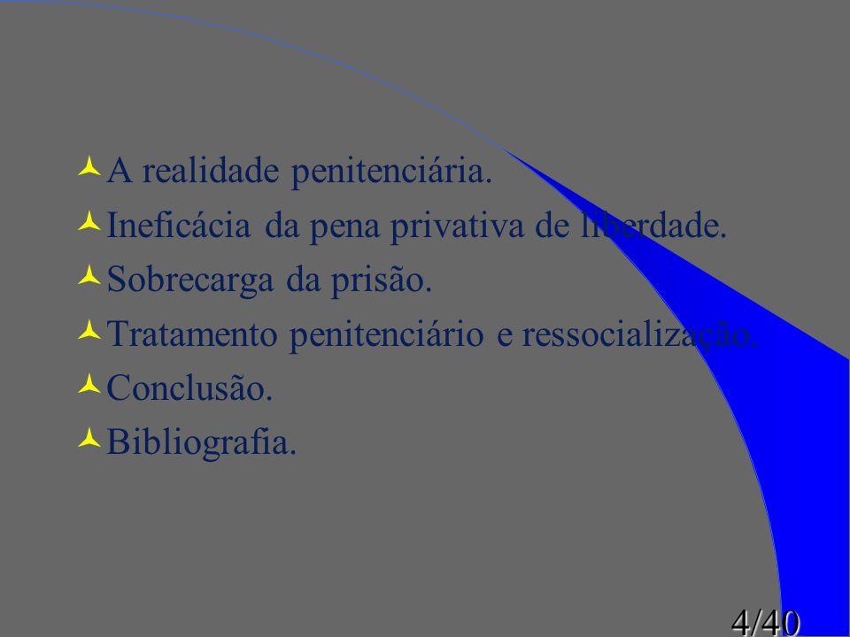 4/40 ©A realidade penitenciária. ©Ineficácia da pena privativa de liberdade. ©Sobrecarga da prisão. ©Tratamento penitenciário e ressocialização. ©Conc