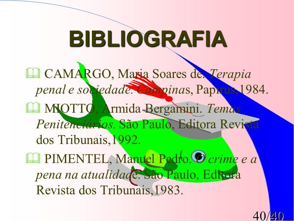 40/40 BIBLIOGRAFIA  CAMARGO, Maria Soares de. Terapia penal e sociedade. Campinas, Papirus,1984.  MIOTTO, Armida Bergamini. Temas Penitenciários. Sã