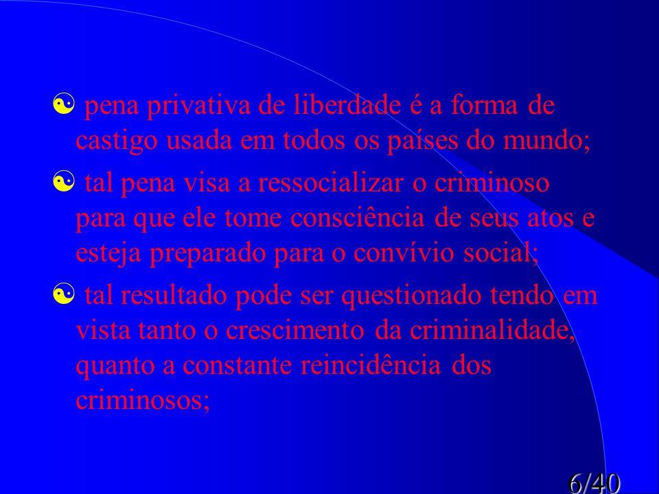 6/40   pena privativa de liberdade é a forma de castigo usada em todos os países do mundo;   tal pena visa a ressocializar o criminoso para que el