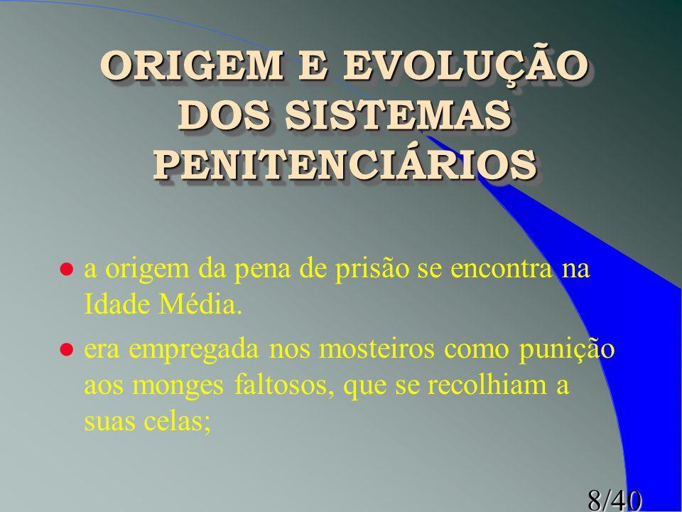 8/40 ORIGEM E EVOLUÇÃO DOS SISTEMAS PENITENCIÁRIOS l a origem da pena de prisão se encontra na Idade Média. l era empregada nos mosteiros como punição