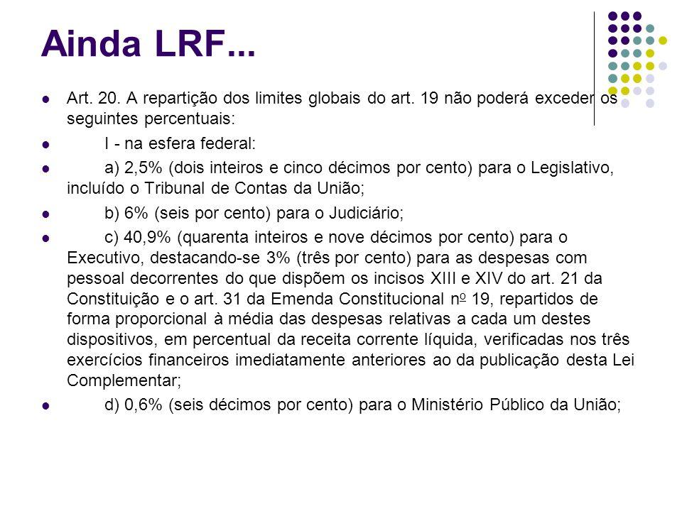 Ainda LRF... Art. 20. A repartição dos limites globais do art. 19 não poderá exceder os seguintes percentuais: I - na esfera federal: a) 2,5% (dois in