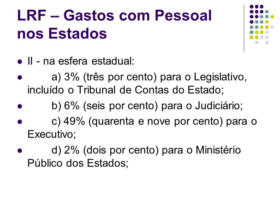 LRF – Gastos com Pessoal nos Estados II - na esfera estadual: a) 3% (três por cento) para o Legislativo, incluído o Tribunal de Contas do Estado; b) 6