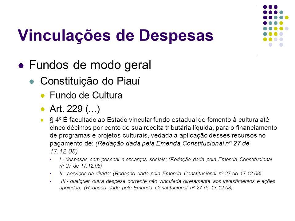 Vinculações de Despesas Fundos de modo geral Constituição do Piauí Fundo de Cultura Art. 229 (...) § 4º É facultado ao Estado vincular fundo estadual