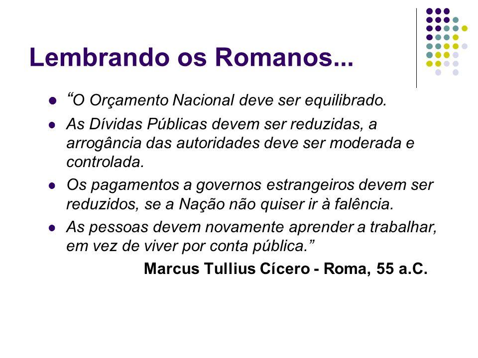 """Lembrando os Romanos... """" O Orçamento Nacional deve ser equilibrado. As Dívidas Públicas devem ser reduzidas, a arrogância das autoridades deve ser mo"""