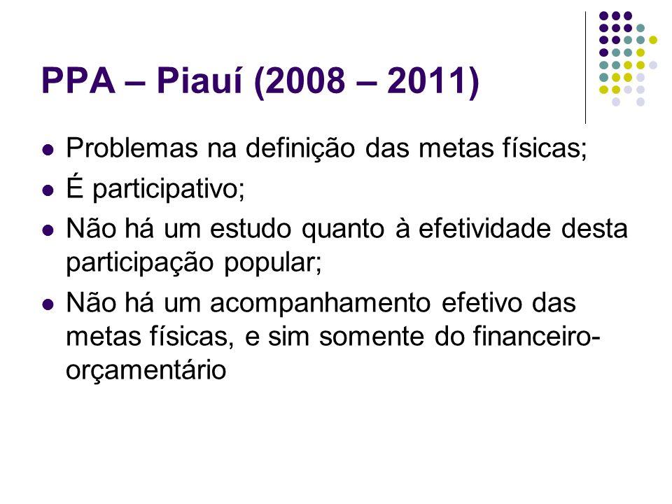 PPA – Piauí (2008 – 2011) Problemas na definição das metas físicas; É participativo; Não há um estudo quanto à efetividade desta participação popular;