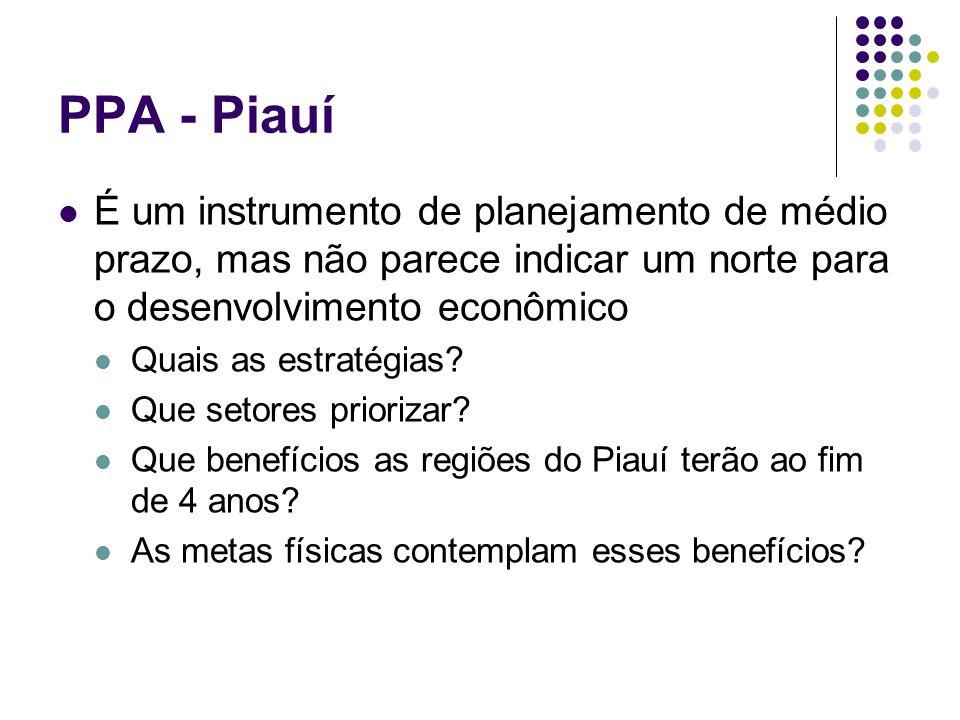 PPA - Piauí É um instrumento de planejamento de médio prazo, mas não parece indicar um norte para o desenvolvimento econômico Quais as estratégias? Qu