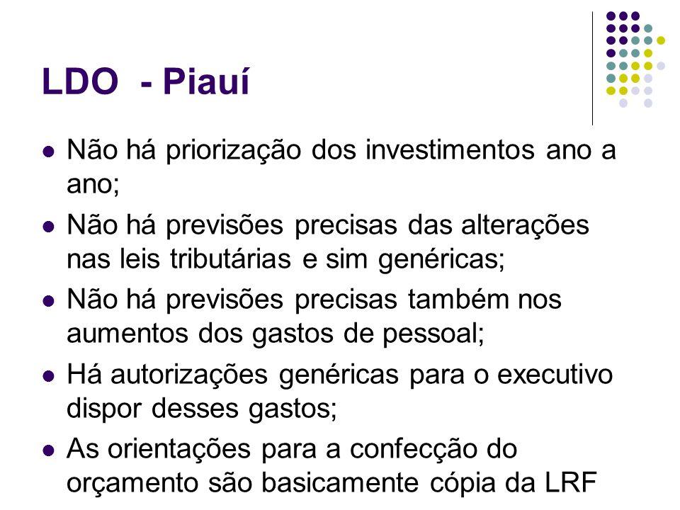 LDO - Piauí Não há priorização dos investimentos ano a ano; Não há previsões precisas das alterações nas leis tributárias e sim genéricas; Não há prev