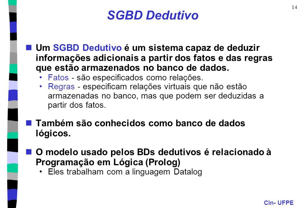 CIn- UFPE 14 SGBD Dedutivo Um SGBD Dedutivo é um sistema capaz de deduzir informações adicionais a partir dos fatos e das regras que estão armazenados
