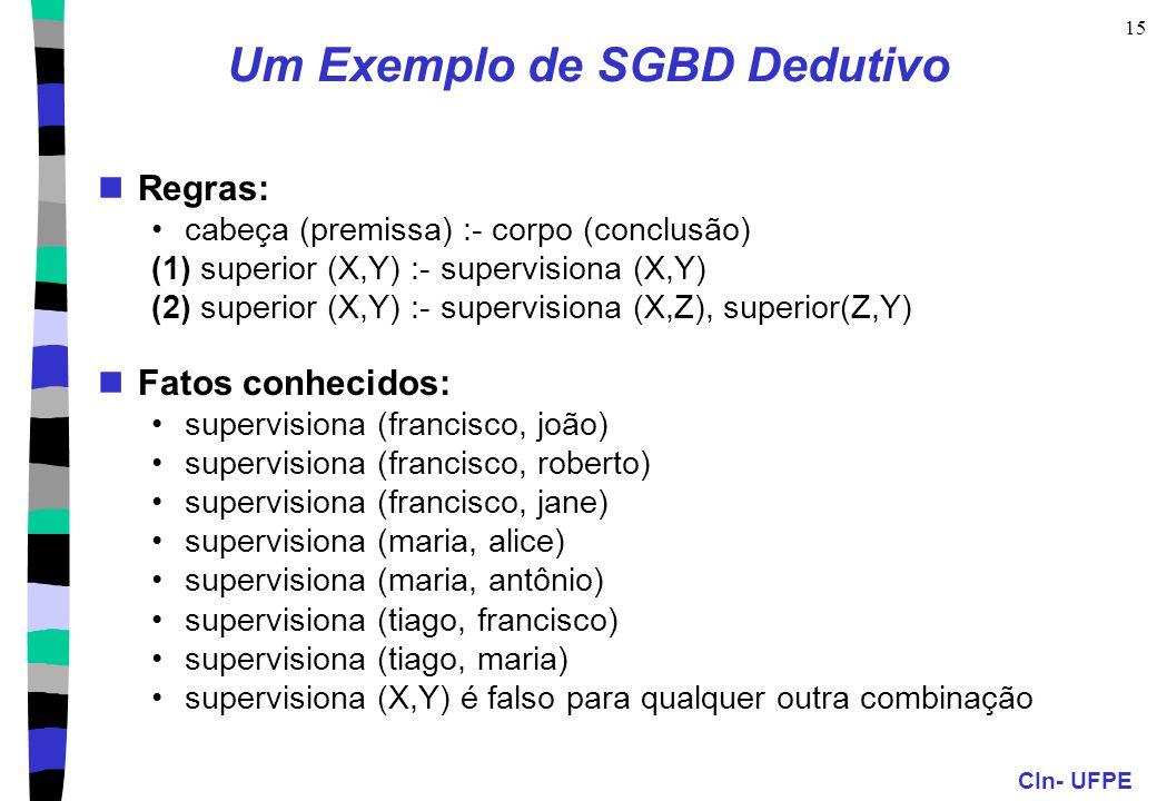 CIn- UFPE 15 Um Exemplo de SGBD Dedutivo Regras: cabeça (premissa) :- corpo (conclusão) (1) superior (X,Y) :- supervisiona (X,Y) (2) superior (X,Y) :-